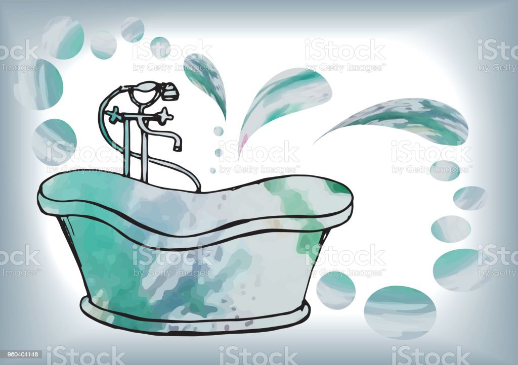 postcard painted antique bath with floor mixer, in vector with watercolor stains, vector art illustration