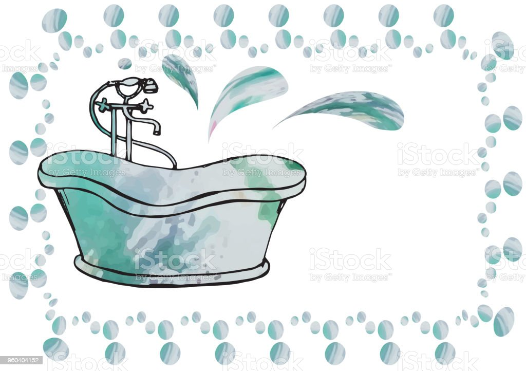 postcard painted antique bath with floor mixer,carelessly drawn vintage, isolated vector art illustration