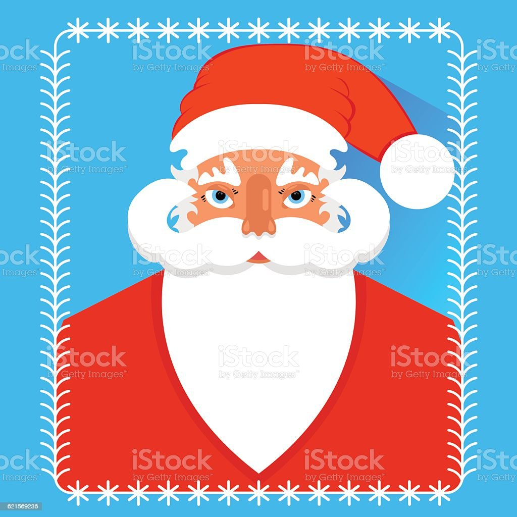 Postcard portrait of Santa Claus , flat design. postcard portrait of santa claus flat design – cliparts vectoriels et plus d'images de adulte libre de droits