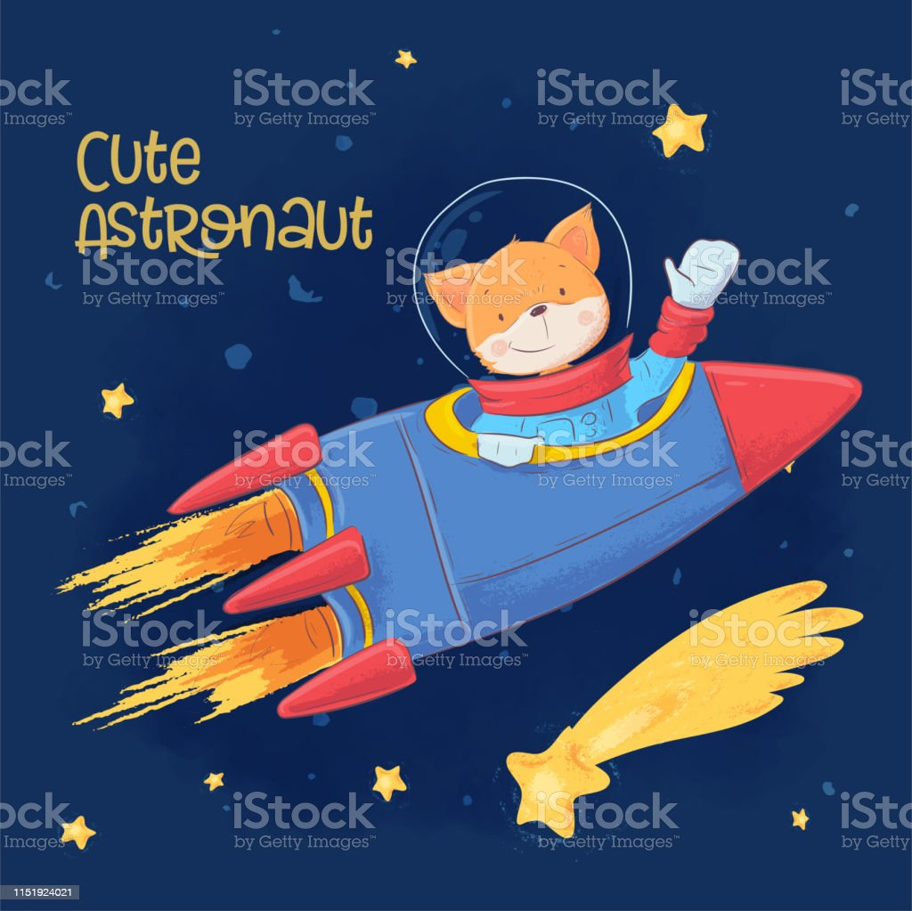 Postcard poster of cute astronaut fox in space with constellations...