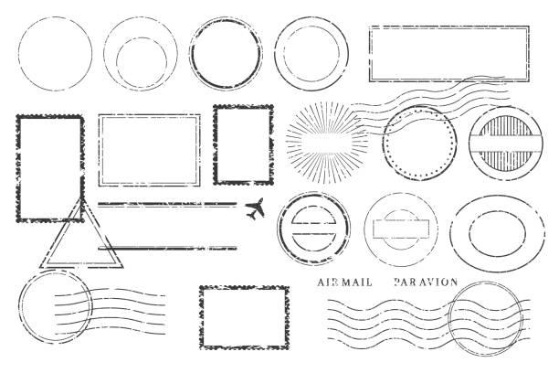 znaczki i znaki pocztowe. anulowanie wysyłki i etykietowanie wysyłki. - pieczęć znaczek stock illustrations