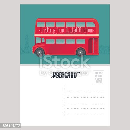 Postcard template with greetings from United Kingdom, UK with red double-decker. Symbol of London in vector illustration