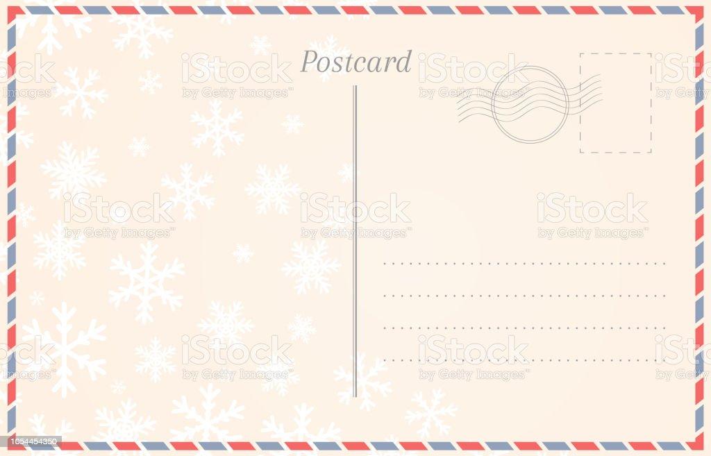 Postkartevorlage Mit Schneeflocken Für Winterurlaub Und Weihnachten