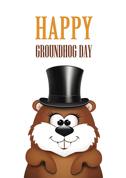 ilustraciones, imágenes clip art, dibujos animados e iconos de stock de postcard to groundhog day.marmot on a white background - groundhog day