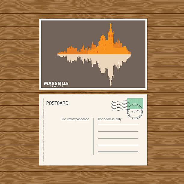 stockillustraties, clipart, cartoons en iconen met postcard. vector illustration - marseille