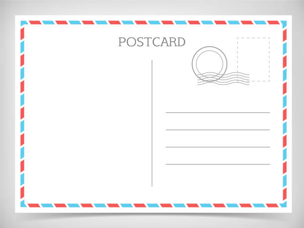 postcard. white travel postal card. - postcard stock illustrations
