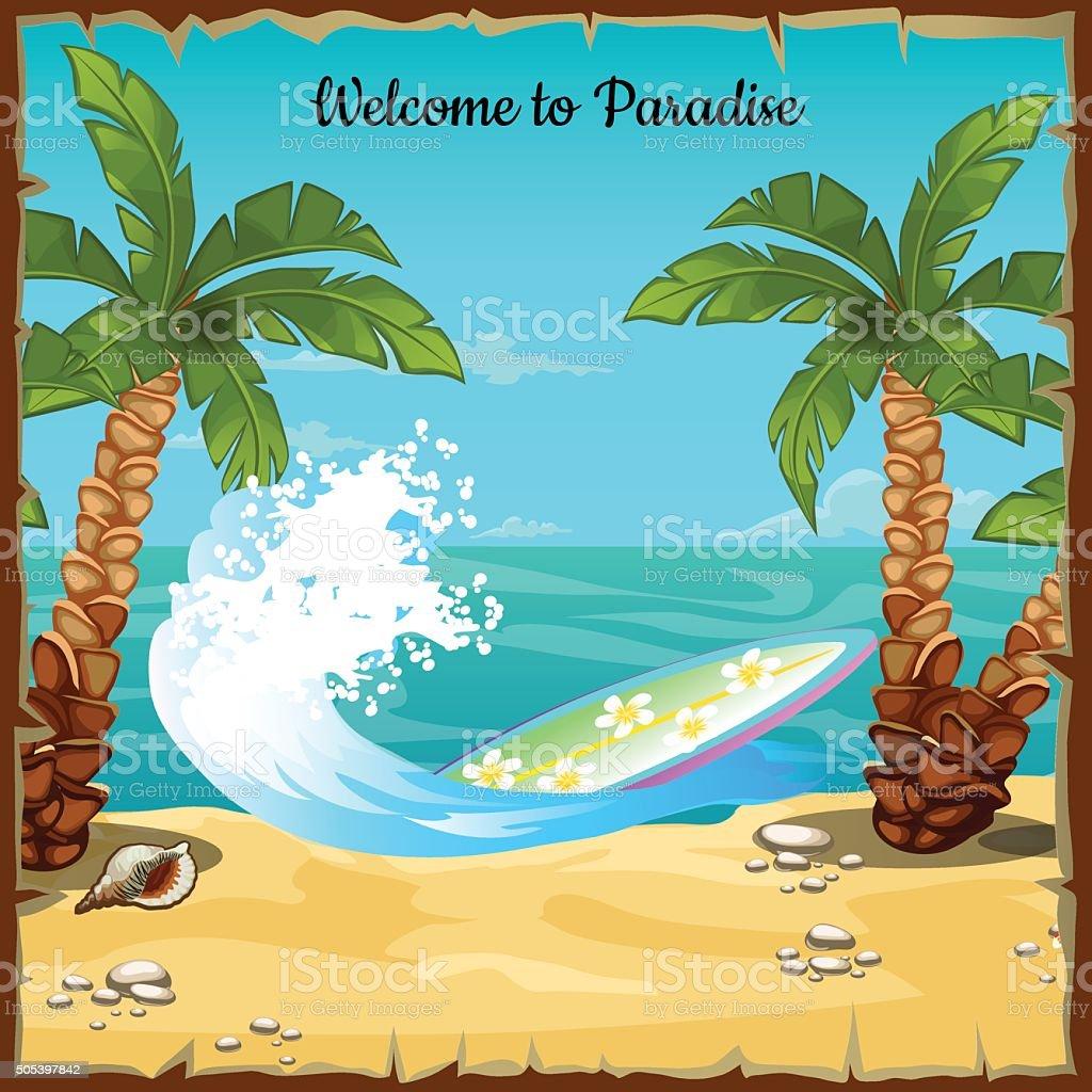 postkarte mit strand meer und surfbrett stock vektor art