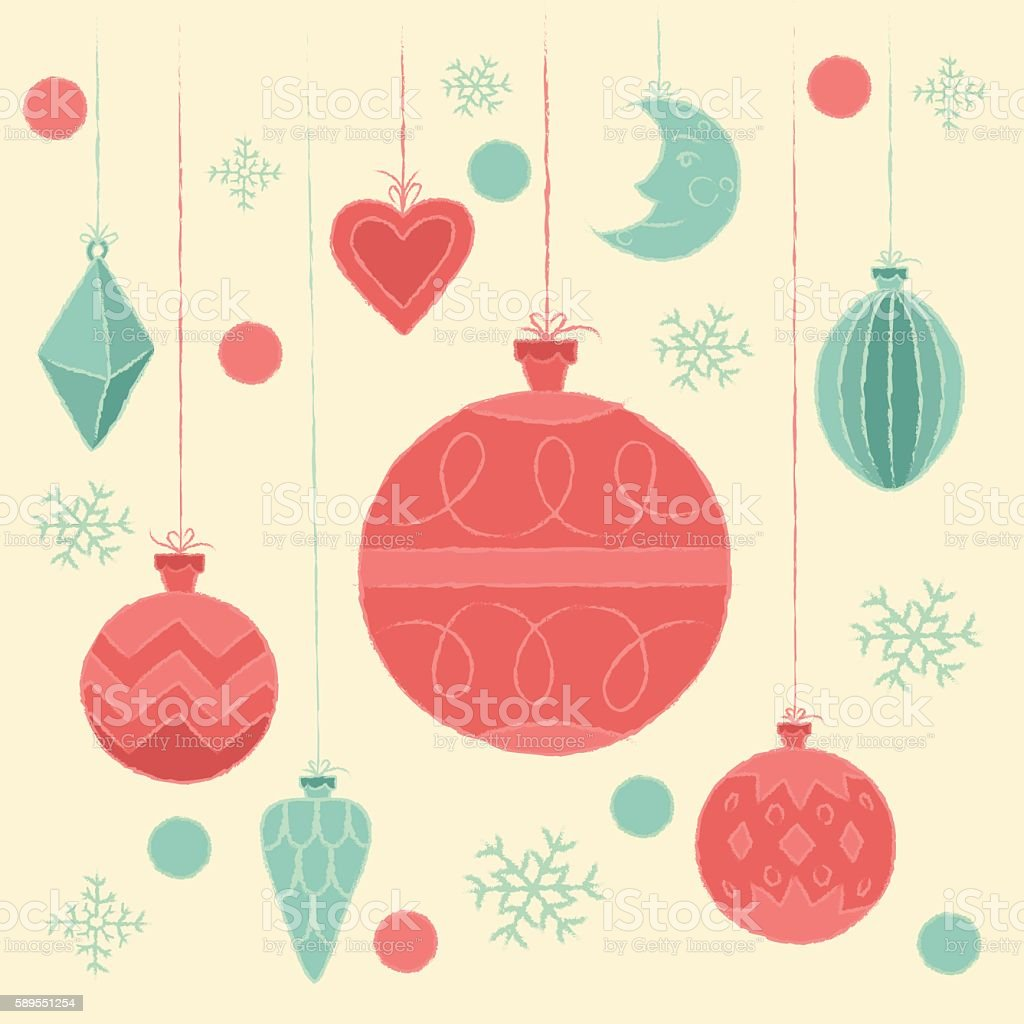 Postcard with Christmas decorations. vector art illustration