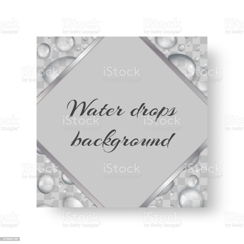 Postcard with drops of water vector art illustration