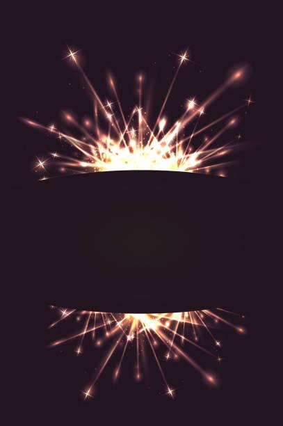 ilustraciones, imágenes clip art, dibujos animados e iconos de stock de tarjeta postal con fuegos artificiales y un lugar para texto - sparks