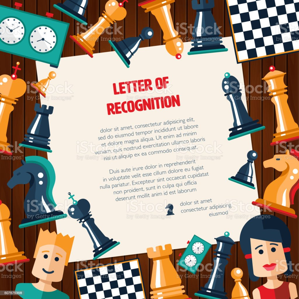 Postcard with flat design chess and players icons vector art illustration