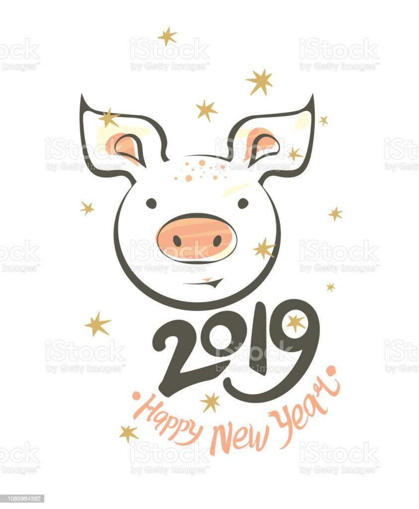 Postcard With Funny Smiling Pig And 2019 Happy New Year Stock Vector ...