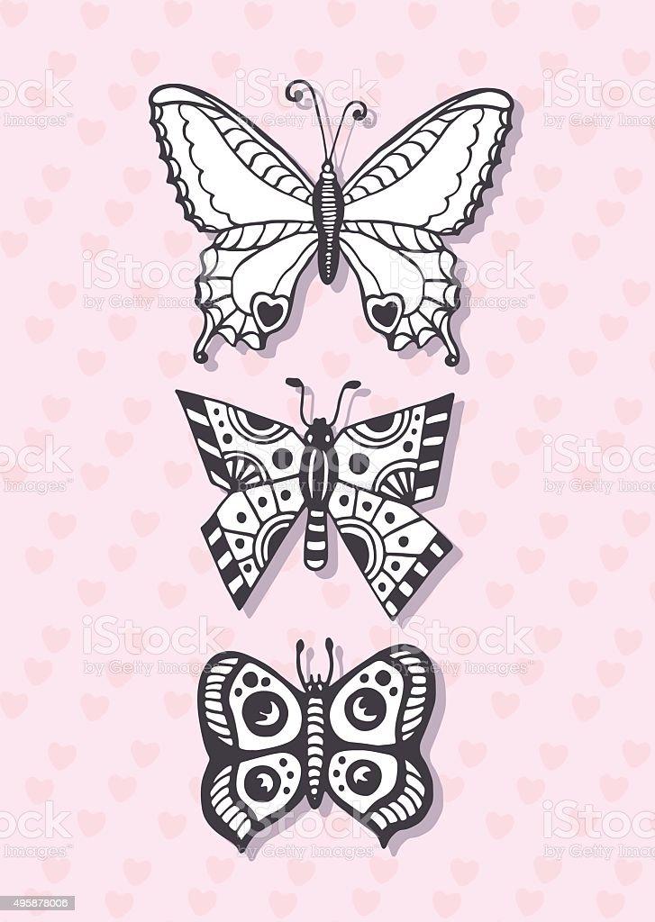 Cartolina Con Mano Disegno Farfalle Pagina Da Colorare Vettoriale