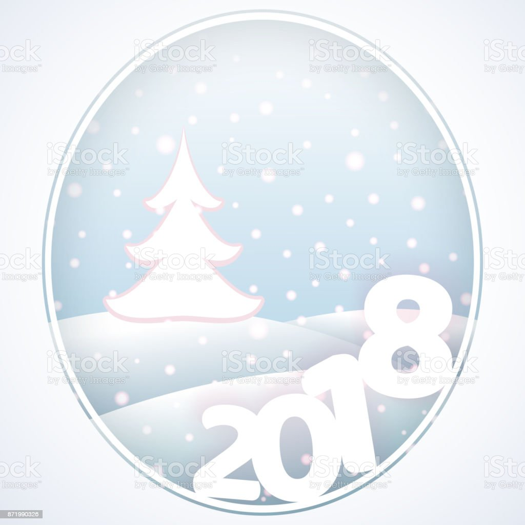 Postcard With Text 2018 New Year And Christmas Winter Background ...
