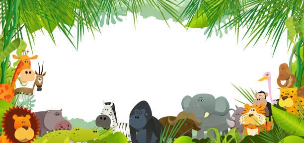 postkarte mit afrikanischen wildtieren - giraffenhumor stock-grafiken, -clipart, -cartoons und -symbole