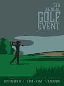 An illustrated poster of a male golfer teeing off. The poster is advertising a golf event.