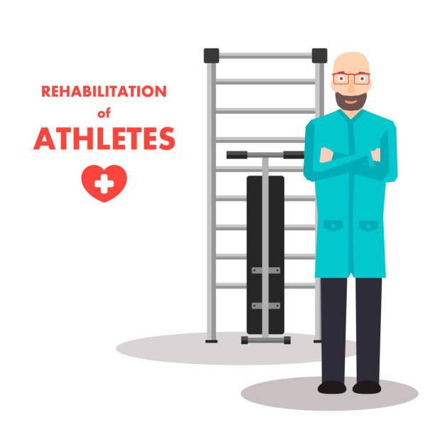 ilustraciones, imágenes clip art, dibujos animados e iconos de stock de poster advertising professional rehab service - medicina del deporte