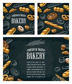Poster and seamless pattern with bread. Isolated on the dark background. Vector color hand drawn vintage engraving illustration for label, flyers and menu bakery shop.