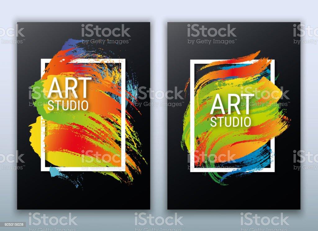 poster art frame a modern colorful flyer brush strokes vector stock