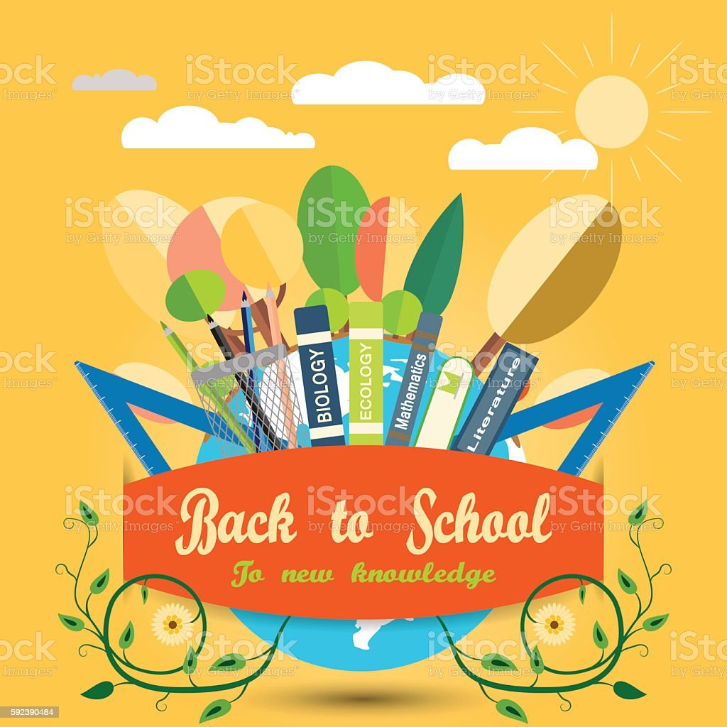 poster back to school on the yellow background with sun お祝いの