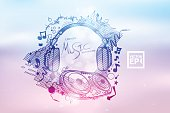 Poster Background for music club disco event with rainbow colours, abstract design elements vector