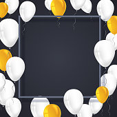 Poster background with white, yellow balloons and frame with shadow.  Template, decoration element for wallpaper, flyers, invitation, brochure or banners. Vector 3D illustration