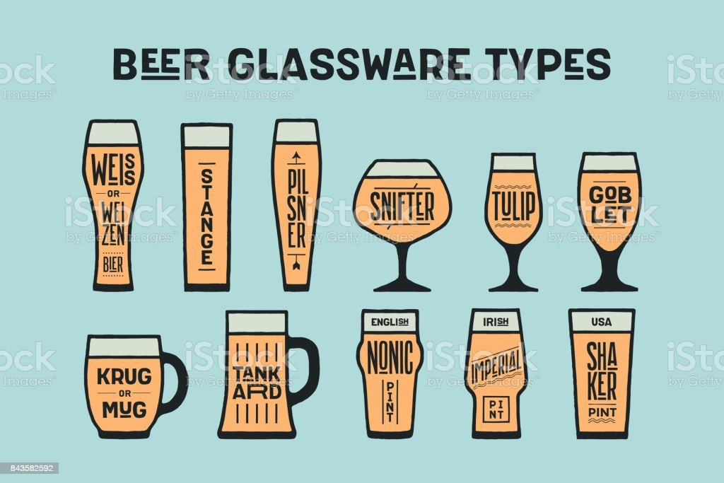 Poster beer glassware types vector art illustration