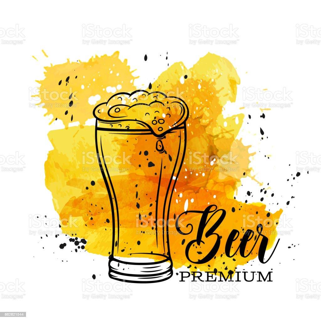 Poster beer mugs vector art illustration