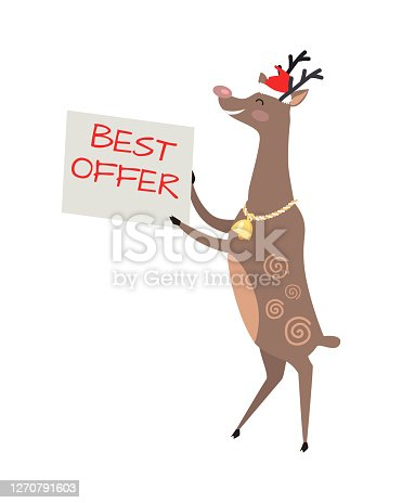 istock Poster Best Offer Held by Deer on White Background 1270791603