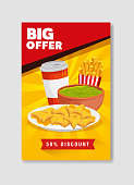 poster big offer of nachos and guacamole with fifty percent discount vector illustration design