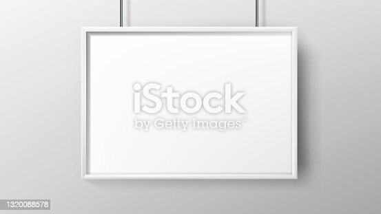 istock Poster Blank Advertisement Paper With Frame Vector 1320088578