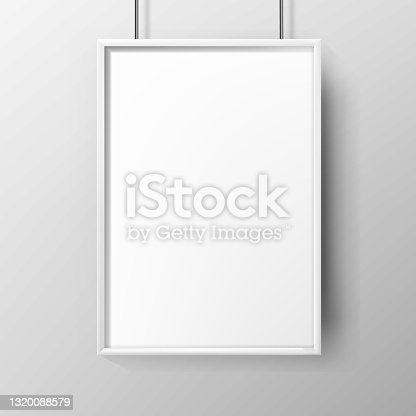 istock Poster Blank Advertising Paper With Frame Vector 1320088579