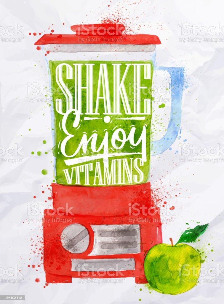 Poster blender shake vector art illustration