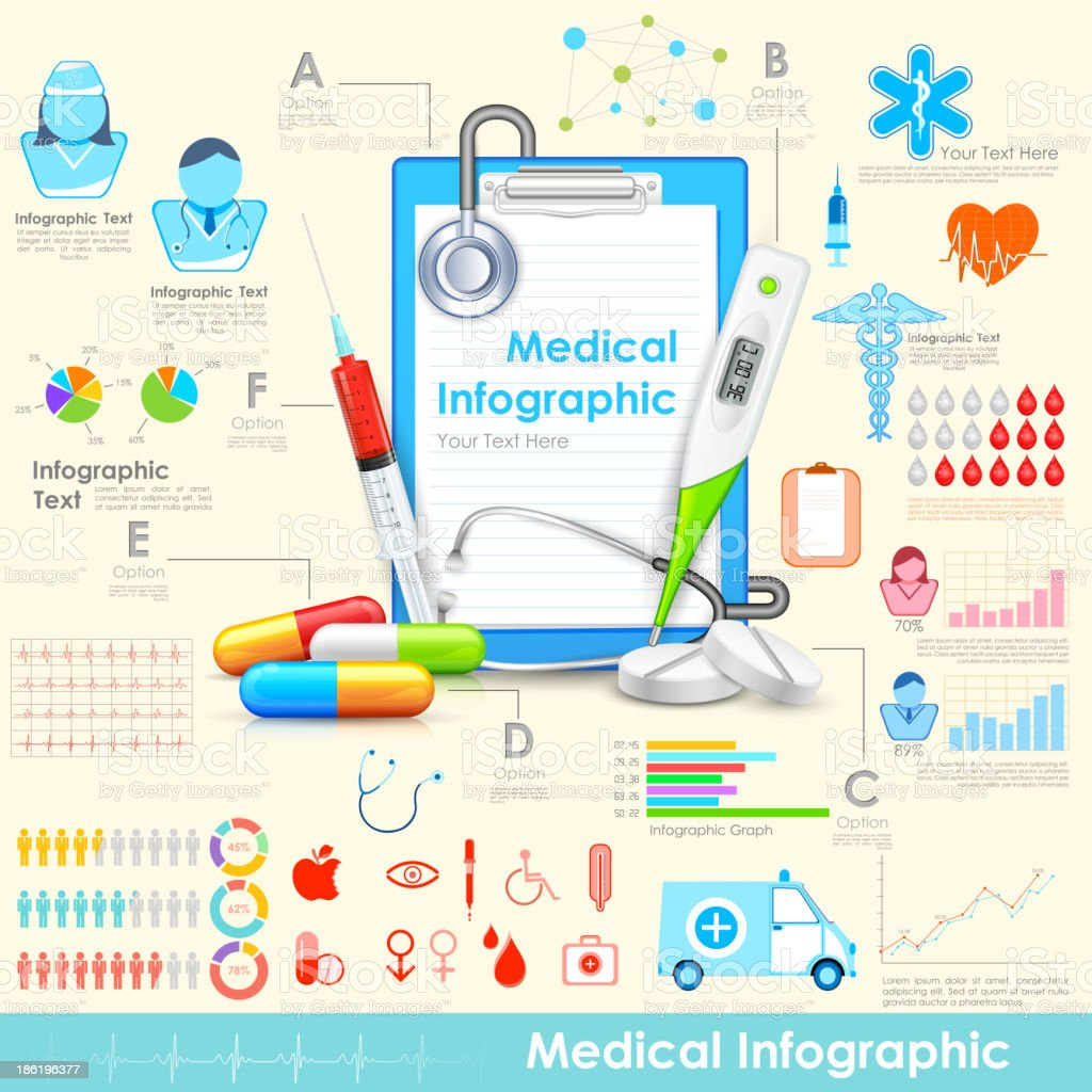 Poster board of different medical icons royalty-free stock vector art