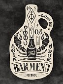Poster bottle of alcohol with hand drawn lettering. Vintage drawing for pub, bar menu, beer card, t-shirt print and alcohol themes. Bottle of bar menu with lettering. Vector Illustration