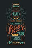 Poster bottle of beer with hand drawn lettering. Colorful vintage drawing for pub, bar menu, beer card, t-shirt print and beer themes. Isolated black bottle of beer wih lettering. Vector Illustration