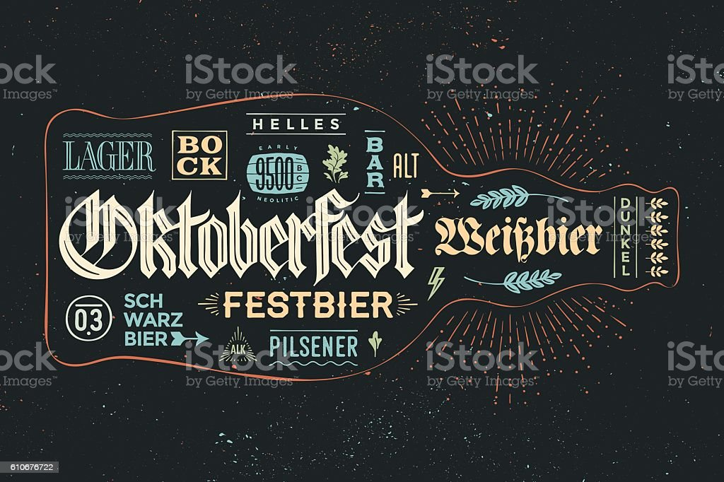 Poster bottle of beer with hand drawn lettering – Vektorgrafik