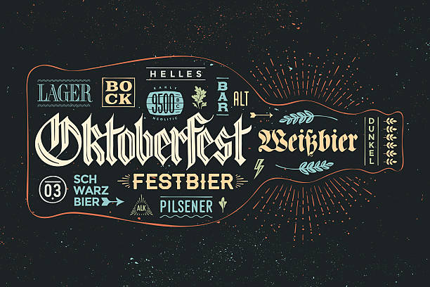 ilustraciones, imágenes clip art, dibujos animados e iconos de stock de poster bottle of beer with hand drawn lettering - oktoberfest