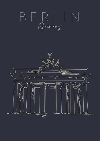 Poster Brandenburg Gate dark