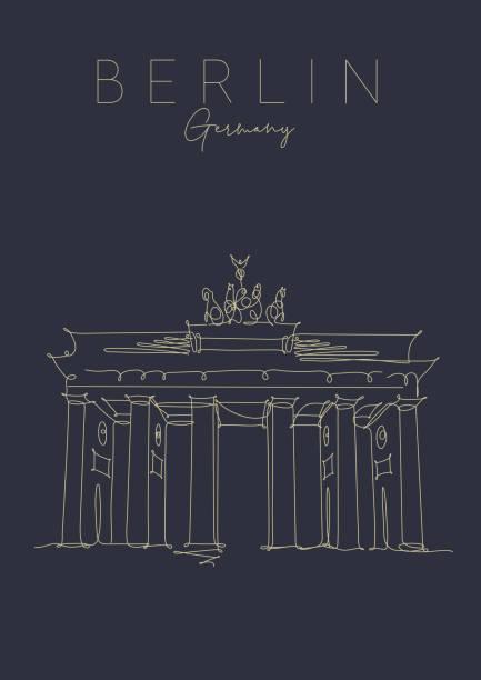 bildbanksillustrationer, clip art samt tecknat material och ikoner med affisch brandenburg gate mörk - berlin street