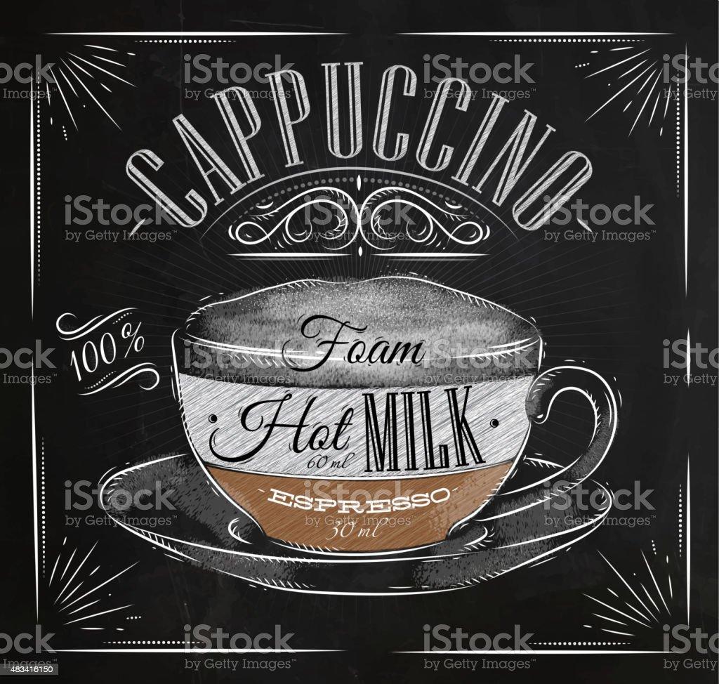Poster cappuccino chalk vector art illustration