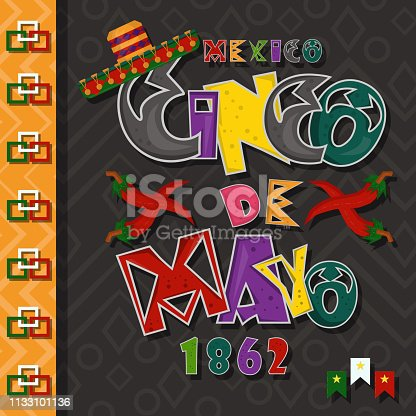 istock poster card layout for_3_the design of stickers, leaflets, covers, text colored inscription calligraphy on the theme of Cinco de mayo in the style of flat 1133101136