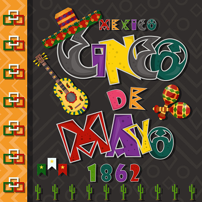 poster card layout for_4_the design of stickers, leaflets, covers, text colored inscription calligraphy on the theme of Cinco de mayo in the style of flat