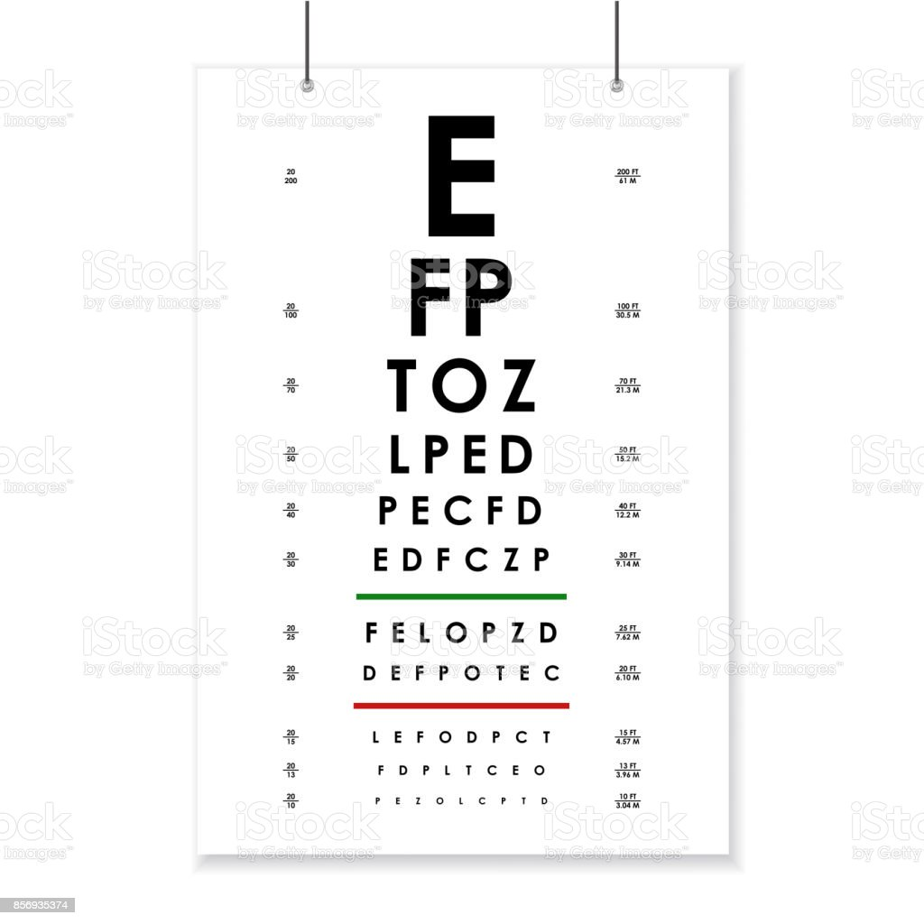 Poster Card of Vision Testing for Ophthalmic. Vector vector art illustration