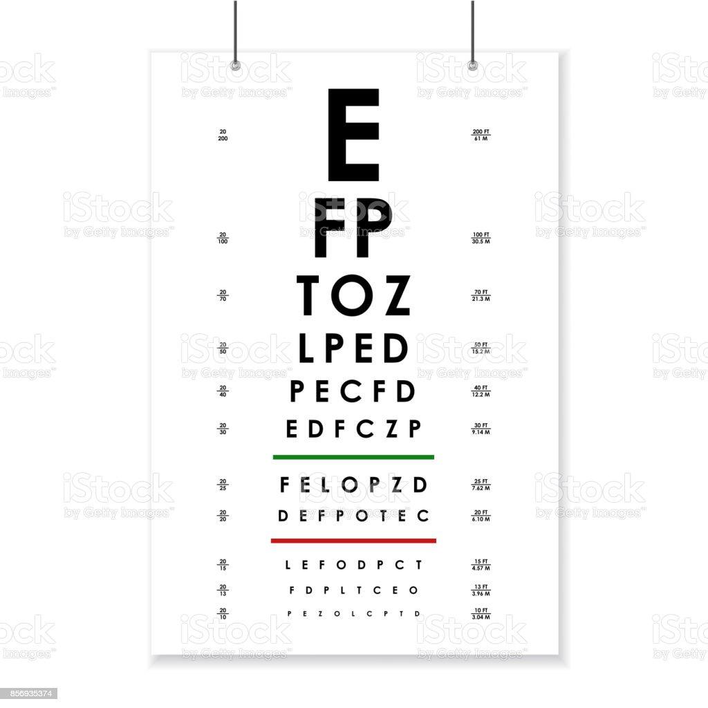 Poster-Karte von Vision Test für Augenheilkunde. Vektor – Vektorgrafik