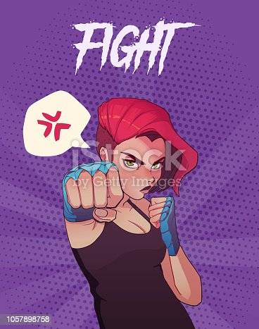 Poster, card or t-shirt print with angry boxing girl with blue boxing bandages, and red hair. Anime style illustration