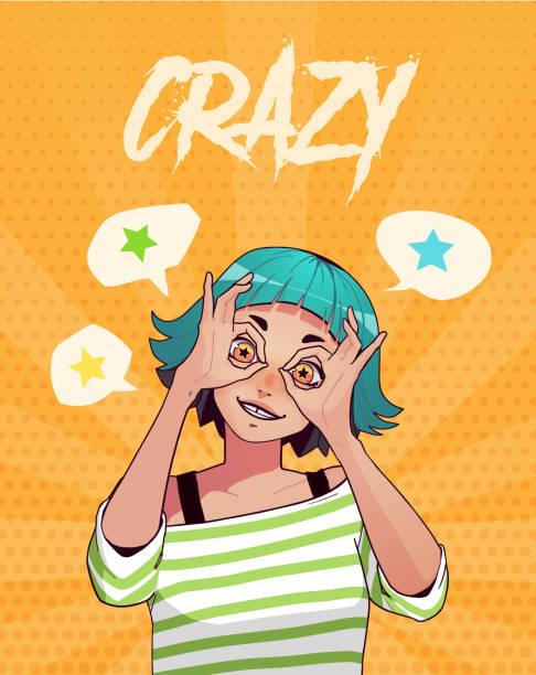 plakat, karte oder t-shirt druck mit lustigen aufgeregt mädchen zeigen ok gesten mit beiden händen. anime-stil-abbildung - swag stock-grafiken, -clipart, -cartoons und -symbole