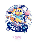 Poster, card or t-shirt print with stylish dog skater. Trendy hipster style illustration