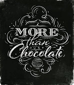 Poster chocolate in vintage style lettering more than just chocolate drawing black watercolor background
