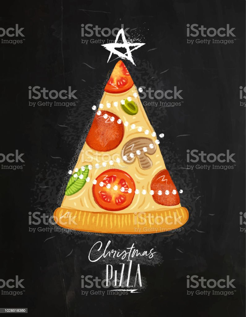 Poster Christmas Tree Pizza Chalk Stock Vector Art More Images Of